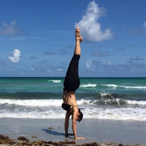 Handstand on the beach in Miami